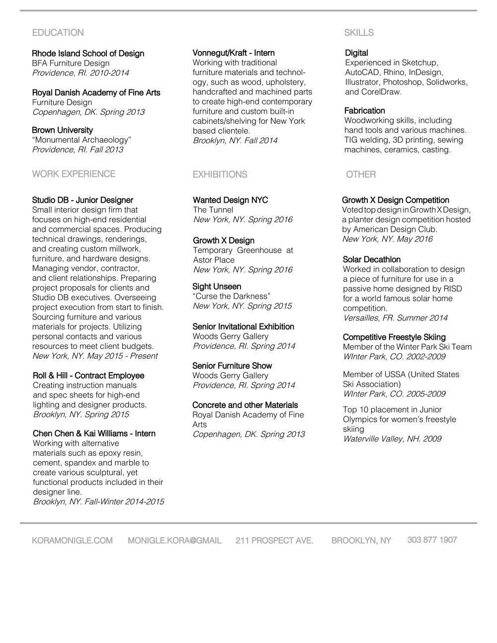 resume koramonigle
